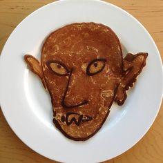 "Illustrator Travis Millard makes pancake drawings on Sunday mornings like this one, titled ""Nosferatu""."