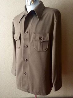 Vintage Apparel Men's 70's Jacket, Brown, Polyester, Button Up by Haggar (M) by Freshandswanky on Etsy https://www.etsy.com/listing/197974082/vintage-apparel-mens-70s-jacket-brown