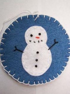 6 Snowman Penny Rug Blue Christmas Ornaments Bead Eyes Handmade OOAK | sewuniquetreasuresandgifts - Seasonal on ArtFire