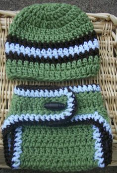 Super Cute Baby Boy Crochet Diaper Cover Set -Featuring- Striped Hat & Diaper Cover With Button - Size 0-3mo. $18.50, via Etsy.