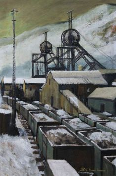 Bill Bell - Pit Head is available for sale at Castlegate House Gallery. Industrial Paintings, Principles Of Design, Coal Mining, Elements Of Art, Source Of Inspiration, Famous Artists, Paintings For Sale, Cool Artwork, Design Crafts