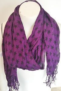 Max Azria and Miley Cyrus purple and black star scarf. Brand New.
