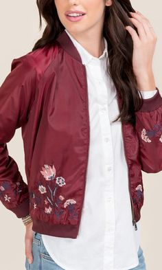 Floral embroidery decorate this burgundy bomber jacket. Burgundy Bomber Jacket, Embroidered Bomber Jacket, Outerwear Women, Dress Outfits, Dresses, Vest Jacket, Ideias Fashion, Clothes For Women, Stylish