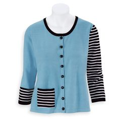 Fun with Stripes Cardigan - Women's Clothing – Casual, Comfortable & Colorful Styles – Plus Sizes