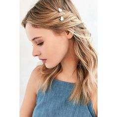 Heart Bobby Pin Set ($6) ❤ liked on Polyvore featuring accessories, hair accessories, hair and ivory