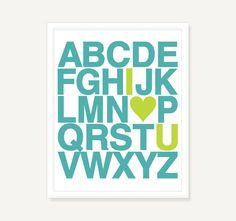 Nursery Art Alphabet Poster w Heart - Custom Childrens Art Turquoise Lime Green - 11x14 Typographic Print Digital Print Poster. $21.00, via Etsy.