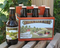 """Iowa Pale Ale - Millstream Brewing Company, Amana, IA: This """"5.7% ABV IPA is a spot-on reproduction of an English bitter, but with American hops."""" A """"bottle-conditioned amber"""" brew, with """"moderate carbonation and clean, fruity English style yeast aromas"""". """"Caramel malt gives the beer a full, sticky viscosity"""" and hops """"gently take away sweetness toward the end of the palate"""". A dry finish with a """"mostly caramel malt"""" aftertaste."""
