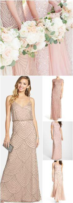 Rose gold and blush bridesmaid dresses