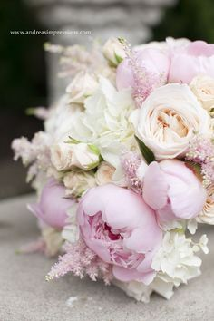 Gorgeous Bridal bouquet with blush garden roses and astilbe champagne spray roses pale pink peonies and white hydrangeas. Photo taken by Andreas Impressions Photography. For more beautiful wedding flower ideas check out www.sugarbloom.ca