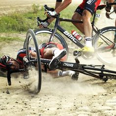 One of the pre-race favorites, BMC's Greg Van Avermaet, hits the dirt at…