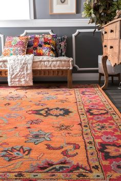 This eclectic area rug is hand tufted out of wool and accents any room décor. If you plan to tie together any fashionable space, then this vibrant rug will assist you well. Orange Rugs, Rugs Usa, Buy Rugs, Flooring Options, Round Rugs, Contemporary Rugs, Dream Decor, Colorful Rugs, Bohemian Rug
