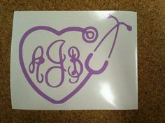 Hey, I found this really awesome Etsy listing at https://www.etsy.com/listing/178687368/monogram-stethoscope-vinyl-decal