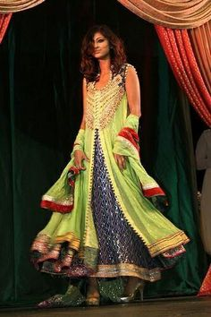 lime green Pakistani frock with navy blue detail