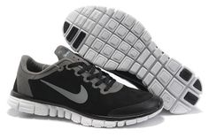 Nike Free Run 3.0 Mens Suede Shoes Noir gris Boutique en ligne