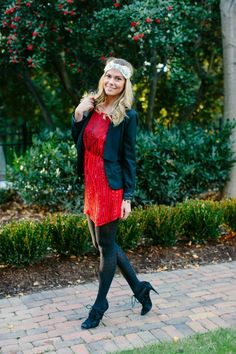 B SOUP: Gatsby Holiday style from @Social Dress Shop. Red beaded rory beca flapper dress with jewel feather headband and tuxedo jacket