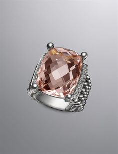 Morganite ~ I have this in gold with the pave Diamond face. Jewelry Accessories, Fashion Accessories, Jewelry Design, Diamond Face, Morganite Ring, Diamond Are A Girls Best Friend, David Yurman, Ring Designs, Jewelery
