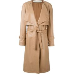 Drome Leather Trench Coat ($1,366) ❤ liked on Polyvore featuring outerwear, coats, beige coat, leather trenchcoat, drome, beige trench coat and real leather coats