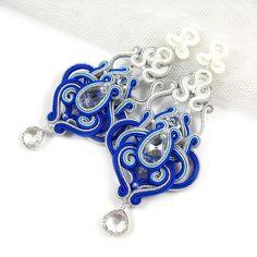 Azul pendientes de soutache araña boda joyería de la boda