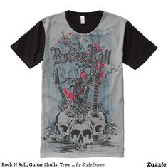Rock N Roll, Guitar Skulls, Tree, Men's T-Shirt  Get cool wearing our Rock N Roll, Guitar Skulls, Tree, Men's T-Shirt. I mean the design totally rocks with the skulls as guitars.