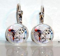 Ohrringe Schmetterling Damen Ohrschmuck Hänger Modeschmuck Glas Cabochon Neuware