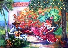 "A beautiful picture from one of Puerto Rico's many art galleries, which depicts the old fashioned Puerto Rican ""Jibaro"" singing to the lady of his dreams. For more on history of the ""Jibaro"" see http://en.wikipedia.org/wiki/Jibaro"