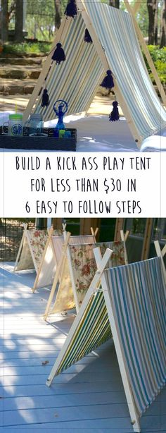 Simple and clear instructions to build this DIY a-frame play tent from www. weestyleguide.com