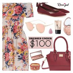 """Rosegal - Dresses Under $100"" by dora04 ❤ liked on Polyvore featuring Loeffler Randall, Urban Decay, Too Faced Cosmetics, Charlotte Russe and under100"