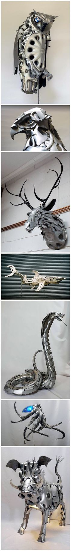 Hubcaps Turned into Animals. Via http://www.mnn.com/lifestyle/recycling/blogs/artist-turns-hubcaps-into-whimsical-creatures