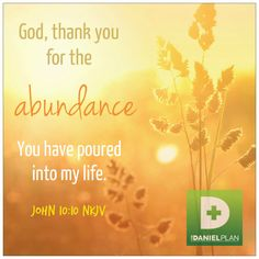 God thank you for the abundance You have poured into my life.   John 10:10  For more information about The Daniel Plan click here: http://www.danielplan.com
