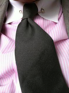 Real men wear pink also nice collar pin menswear mens for Tie bar collar shirt