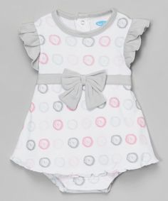 Look at this bon bébé Gray & Pink Circle Angel-Sleeve Skirted Bodysuit - Infant on #zulily today!