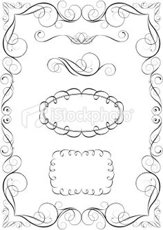 Set of calligraphic elements and frame Royalty Free Stock Vector Art Illustration