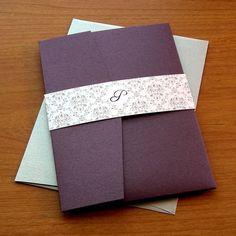 Elegant Pocket Wedding Invitation Sample Set - Shimmery Eggplant and Silver Damask Pocketfold. $5.30, via Etsy.