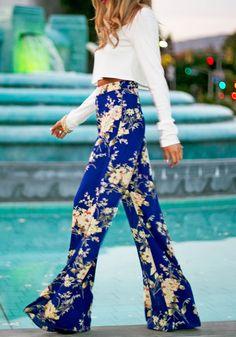 Blue Floral Print Straight Barrel Fashion Long Pants - Pants - Bottoms