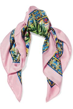 Dolce & Gabbana - Printed Silk-twill Scarf - Pink - one size