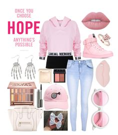 """""""{October: we wear pink}"""" by septicstranger ❤ liked on Polyvore featuring INC International Concepts, T By Alexander Wang, Local Heroes, Glamorous, Moschino, ZeroUV, STELLA McCARTNEY, Lime Crime, NARS Cosmetics and MAC Cosmetics"""