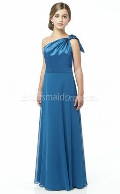 One Shoulder Floor-length turquoise Junior Bridesmaid Dresses(UKJBD03-017)