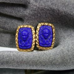 """""""Vintage Marvella Earrings Egyptian Pharaoh Cobalt by zephyrvintage, $22.00"""" These are beautiful!"""