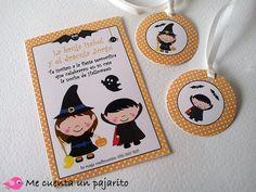 MCPajarito, invitación y etiquetas para chuches de la fiesta de Halloween