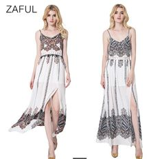 Sexy Spaghetti Strap Hollow Out Lace Spliced Print Slit Long Dress