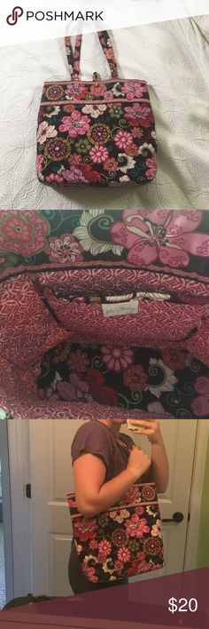 Like new Vera Bradley pink tote Great size for a laptop or just for a day bag. Perfect condition with a sturdy bottom so that it can stand up straight when you set it down. Vera Bradley Bags Totes
