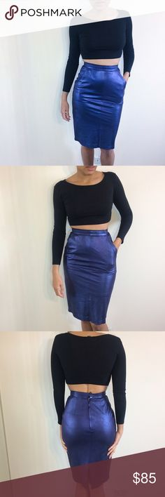 Metallic Blue Leather Skirt • Mario Valentino brand, made in Italy • genuine leather, shimmery metallic blue color • tag says size 40/8. Fits like a US 6 or even a 4 here in the US. • small mark at the back, not clearly visible  • Questions? Just ask!  • Bundle to save • Use the offer button to negotiate   ❤︎ @sabineforever | Instagram & Pinterest  ❤︎ sabineforever.com for style, beauty, lifestyle and more fashion & accessories ❤︎ personal shopping & styling services available Skirts Midi