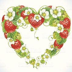 Illustration of Vector strawberry frame in the shape of heart vector art, clipart and stock vectors. Strawberry Pictures, Strawberry Art, Strawberry Kitchen, Strawberry Hill, Strawberry Shortcake, Strawberry Tattoo, Feather Vector, Flower Petals, Flowers