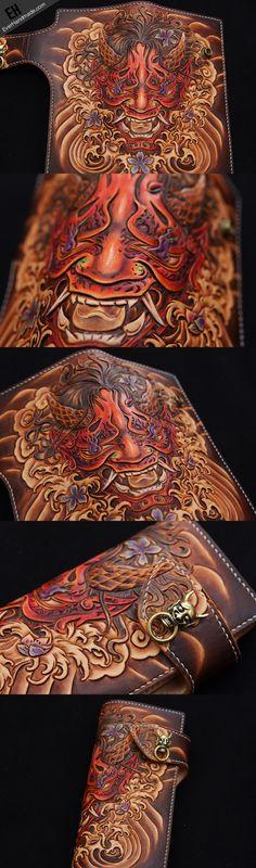 Handmade biker wallet coffee color carved prajna ghost leather long wa | EverHandmade