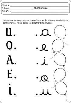 Atividades com vogais maiúsculas e minúsculas