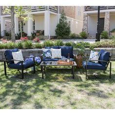 Leisure Made Jasper 4-Piece Aluminum Patio Conversation Set with Navy Cushions