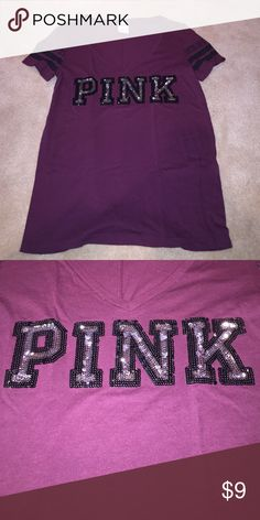 PINK VNECK Cranberry colored with black and silver sequin PINK Victoria's Secret Tops Tees - Short Sleeve