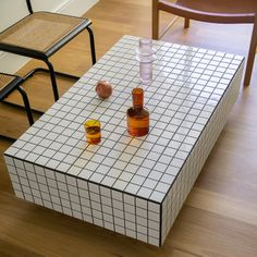 Coffee Table Gloss, Tiled Coffee Table, Coffee Tables, Red Tiles, Black Tiles, White Tiles, Tile Tables, Floating Table, Buy Tile