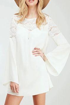 Long Sleeves Lace Paneled Chiffon Shift Dress - OASAP.com