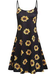 34b06a68d333 Naggoo Womens Adjustable Spaghetti Strap Sleeveless Floral Beach Dresses